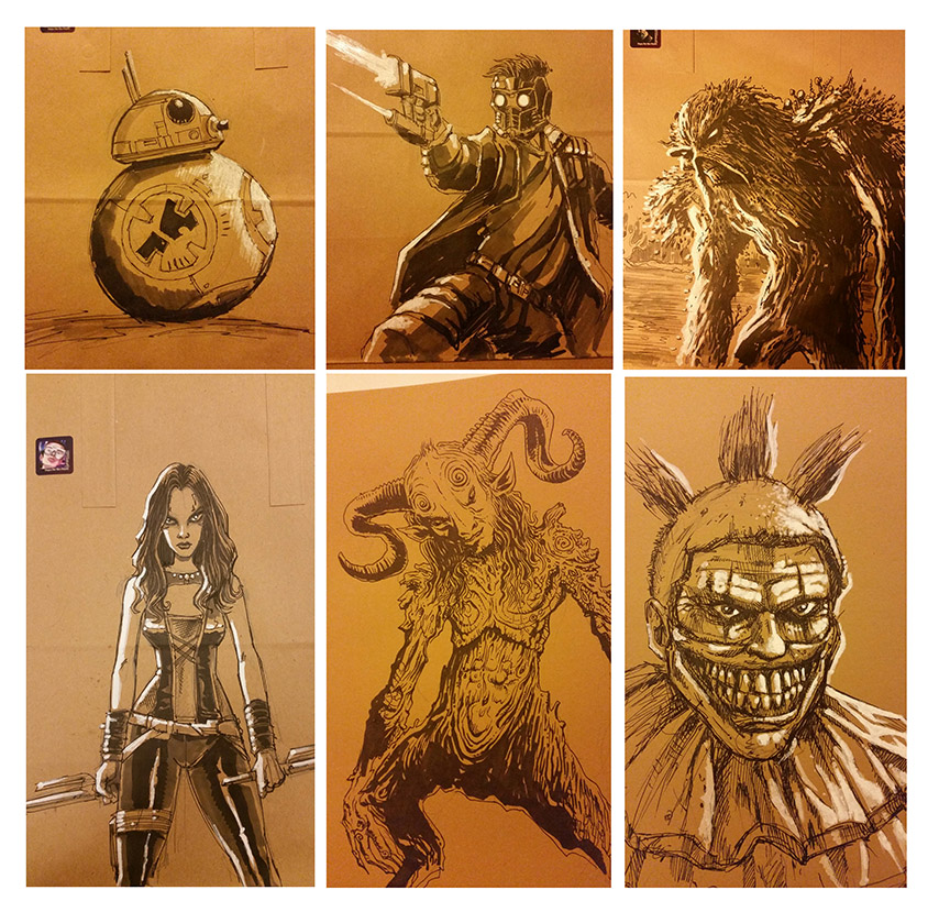Here's some warm up sketches  - all this junk is available too. Yeah, I'll pretty much flog anything