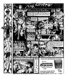 These ads ran in Marvel UK's Star Wars comics, and 2000AD around 1984, and certainly got me interested in finding out more about D&D. Still doesn't tell you how to play the game though